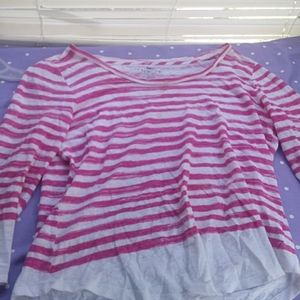 Pink and white striped wide neck T shirt